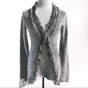 Anthropologie Guinevere Gray Knit Ruffle Cardigan